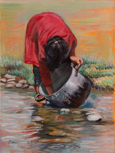 Signed Painting Of A Woman Washing Pot From Peru