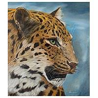 'Leopard' - Signed Painting of a Spotted Leopard from Peru