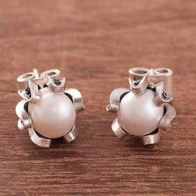 Cultured pearl filigree stud earrings, 'Tulip Glow' - Cultured Pearl Filigree Stud Earrings from Peru