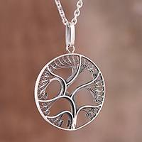 Sterling silver filigree pendant necklace, 'Fantastic Tree' - Sterling Silver Filigree Tree Pendant Necklace from Peru