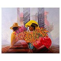 'The Cantuta' (2018) - Signed Painting of Women with Cantuta Flowers (2018)