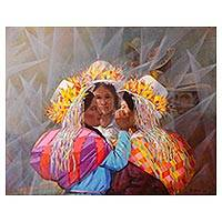 'Dance of the Andes' (2018) - Signed Expressionist Painting of Andean Women (2018)