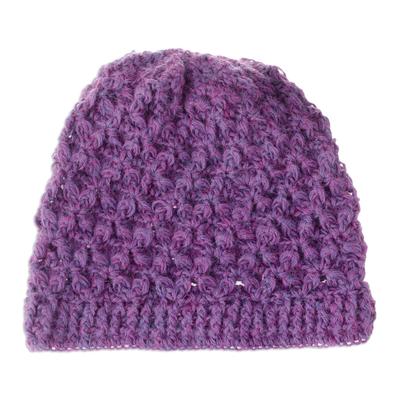 Blue-Purple Hand Crocheted 100% Alpaca Hat from Peru