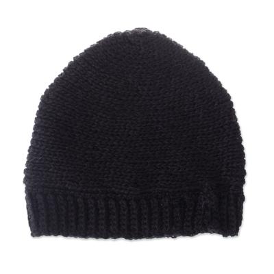 Black Hand Crocheted 100% Alpaca Hat from Peru