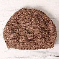 100% alpaca knit hat, 'Roasted Chestnuts' - Chestnut Brown Hand Crocheted 100% Alpaca Hat from Peru