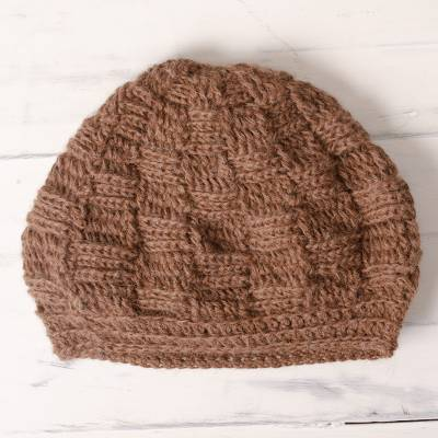 fc68f4d2c64 Chestnut Brown Hand Crocheted 100% Alpaca Hat from Peru - Roasted ...