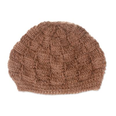 Chestnut Brown Hand Crocheted 100% Alpaca Hat from Peru