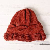 100% alpaca hat, 'Russet Rope' - Hand-Crocheted 100% Alpaca Hat in Russet from Peru