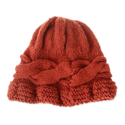 Hand-Crocheted 100% Alpaca Hat in Russet from Peru