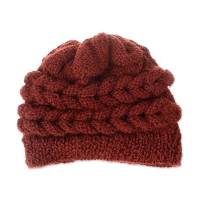 Hand-Crocheted 100% Alpaca Hat in Redwood from Peru