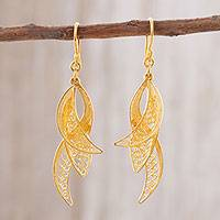 Gold plated sterling silver filigree dangle earrings,