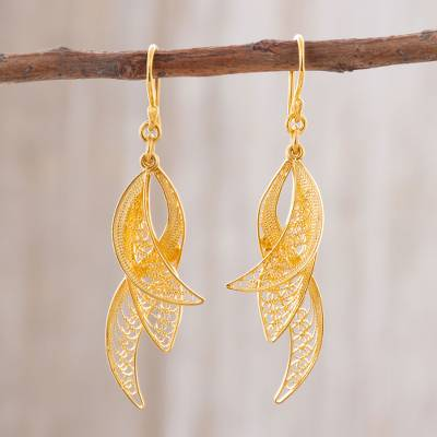 Gold plated sterling silver filigree dangle earrings, 'Windswept' - 24k Gold Plated Sterling Silver Filigree Dangle Earrings