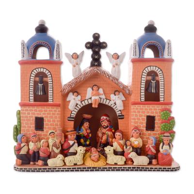Hand-Painted Ceramic Nativity Sculpture from Peru