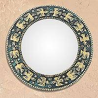 Bronze and copper wall mirror, 'Pre-Hispanic Birds' - Bird Motif Bronze and Copper Wall Mirror from Peru