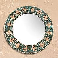 Copper wall mirror, 'Pre-Hispanic Birds' - Bird Motif Copper Wall Mirror Crafted in Peru