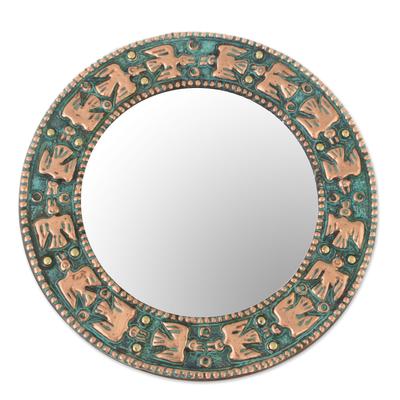 Copper wall mirror, 'Pre-Hispanic Birds' - Bird Motif Copper Wall Mirror Crafted in Peru