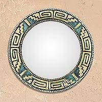 Bronze and copper wall mirror, 'Pre-Hispanic Classic' - Geometric Bronze and Copper Wall Mirror from Peru