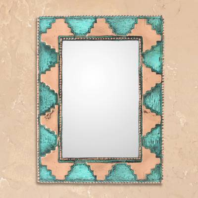 Copper wall mirror, 'Pre-Hispanic Pyramids' - Pyramid Pattern Copper Wall Mirror Crafted in Peru