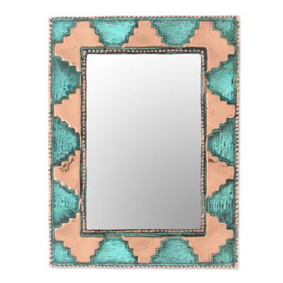 Copper wall mirror, 'Pre-Hispanic Pyramids' - Pyramid Pattern Copper Wall Mirror Crafted in Peru
