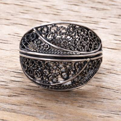 Sterling silver filigree cocktail ring, 'Swirling Paradise' - Sterling Silver Filigree Cocktail Ring from Peru