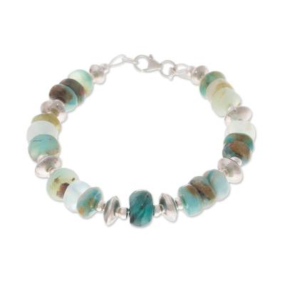 Opal beaded bracelet, 'Andean Green' - Green Opal Beaded Bracelet Crafted in Peru