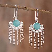 Opal chandelier earrings, 'Bauble Delight' - Opal Chandelier Earrings Crafted in Peru