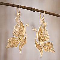 Gold plated sterling silver filigree dangle earrings, 'Regal Butterfly'
