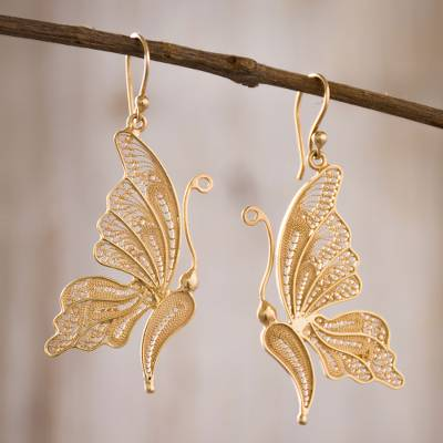 Gold plated sterling silver filigree dangle earrings, 'Regal Butterfly' - 24k Gold Plated Sterling Silver Filigree Butterfly Earrings