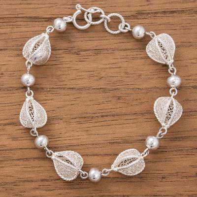 Sterling silver filigree link bracelet, Aguaymanto Bliss
