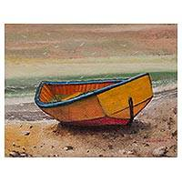 'Wait on the Shore' - Signed Realist Painting of a Yellow Boat from Peru