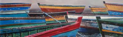 'High Seas' (2018) - Signed Realist Painting of Colorful Boats from Peru (2018)