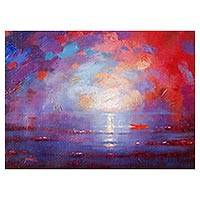 'Sunset I' - Signed Expressionist Painting of an Ocean Sunset