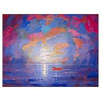 'Red Boat II' - Signed Expressionist Seascape Painting in Blue from Peru