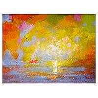 'Red Boat III' - Signed Expressionist Seascape Painting in Yellow from Peru