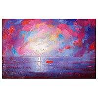 'Red Boat IV' - Signed Expressionist Painting of a Red Boat in the Ocean