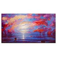 'Following the Sunset' - Ocean-Themed Expressionist Painting in Blue and Purple