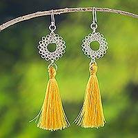 Silver dangle earrings, 'Golden Rays' - Silver Dangle Earrings with Yellow Cord from Peru