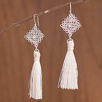 Silver dangle earrings, 'Elegant Tassels' - Handcrafted Silver Dangle Earrings with Tassels from Peru