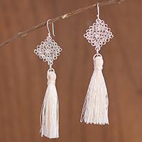 Silver dangle earrings, 'Elegant Tassels' - Handcrafted Silver Dangle Earrings with Tassels from Peru