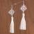 Silver dangle earrings, 'Elegant Tassels' - Handcrafted Silver Dangle Earrings with Tassels from Peru thumbail
