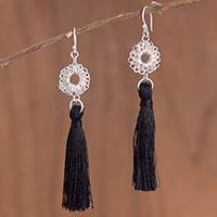 Silver dangle earrings, 'Elegant Nest' - Silver Dangle Earrings with Black Tassels from Peru