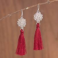Silver dangle earrings, 'Passion Nest' - Silver Dangle Earrings with Red Tassels from Peru