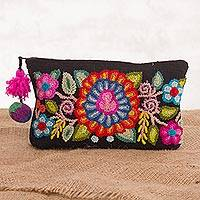 100% alpaca clutch, 'Andean Bouquet' - Handmade Floral 100% Alpaca Clutch in Black from Peru