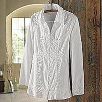 Cotton blouse, 'Lily of the Incas' - Lily of the Incas Button-front White Blouse