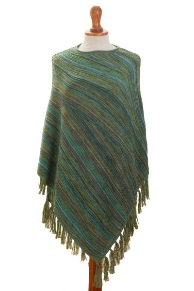 100% alpaca poncho, 'Captivating Stripes in Green' - Striped 100% Alpaca Poncho in Green from Peru