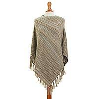 100% alpaca poncho, 'Captivating Stripes in Beige' - Striped 100% Alpaca Poncho in Beige from Peru