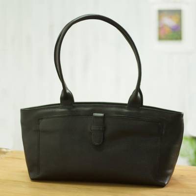Leather handle handbag, 'Black Chic' - Handcrafted Black Leather Handle Handbag from Peru