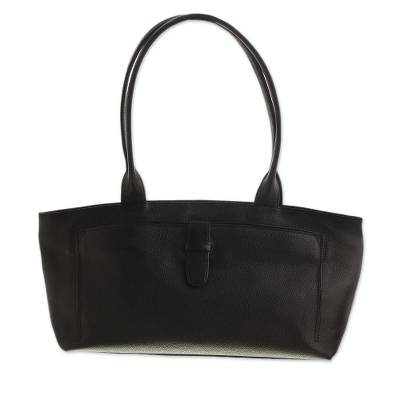 Handcrafted Black Leather Handle Handbag from Peru