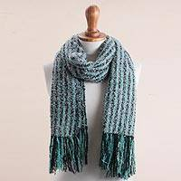Alpaca blend scarf, 'Bay Stripes' - Handwoven Alpaca Blend Scarf with Aqua Stripes from Peru