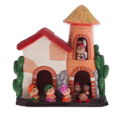 Andean-Themed Ceramic Nativity Scene Sculpture from Peru